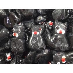 10st Glaspärlor Katter 20mm Svarta svart