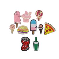10st Tygmärken - Glassar Pizza Hamburgare mm - Alla Olika flerfärgad