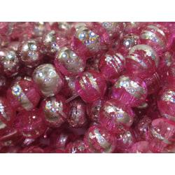 145st Drawbench Glaspärlor 6mm- Rosa Silvriga rosa 6 mm
