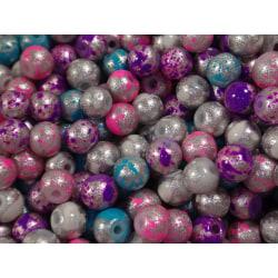 300st Fancy Spot Glaspärlor 4mm - Blandade Färger flerfärgad