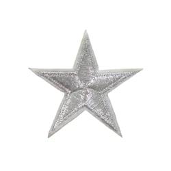 2st Tygmärken - Silvrig Stjärna - Storlek 6,4cm silver