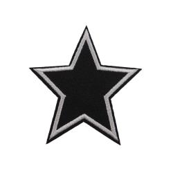 6st Tygmärken - Svart Stjärna svart 70 mm
