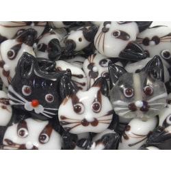 10st Glaspärlor Katter 20mm - Blandade Färger flerfärgad 20 mm