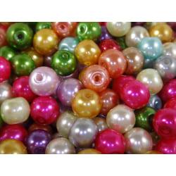100st Vaxade Glaspärlor 6mm - Blandade Färger flerfärgad 6 mm
