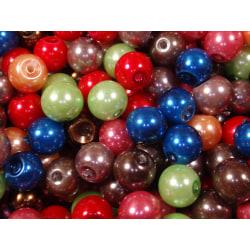 100st Vaxade Glaspärlor 8mm- Blandade Färger flerfärgad 8 mm