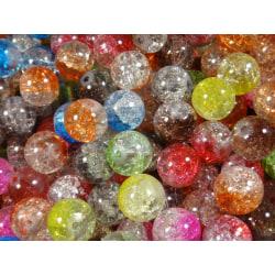 60st Crackle Glaspärlor 10mm- Tvåfärgade- Blandade Färger flerfärgad 10 mm