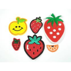 6st Tygmärken - Jordgubbar Äpple Apelsin - Alla Olika flerfärgad