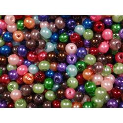 800st Vaxade Glaspärlor 4mm- Blandade Färger flerfärgad 4 mm