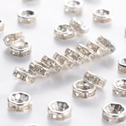 6mm strassrondeller/spacers, silver/klara, 50st