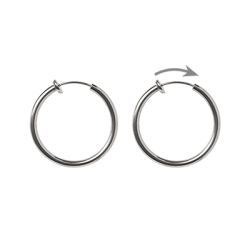 För ohålade öron: 24mm creoler, rostfritt kirurgiskt stål, 1 par