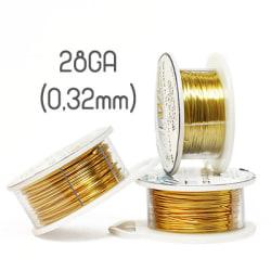 Non-tarnish gold wire, 28GA (0,32mm grov)