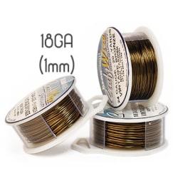 Non-tarnish vintage bronze wire, 18GA (1mm grov)