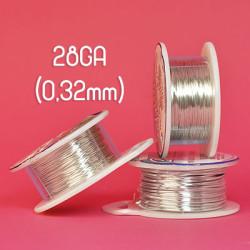Tarnish resistant wire, silverpläterad, 28GA (0,32mm grov)