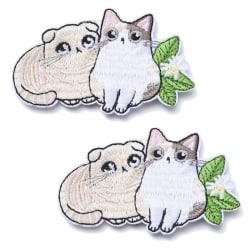 2 stycken stryka sy på tygmärken katt