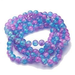 200 st blå rosa 2 toner 4 mm glaspärlor