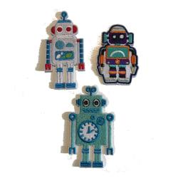 3 broderade tygmärken stryka på robot