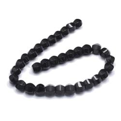 30 svarta glaspärlor naturell blackstone