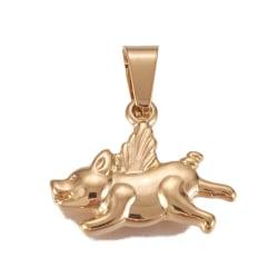 hänge 1 berlock i guld stål gris / hund