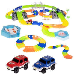 Självlysande bilbana Mega Set med bilar, berg & bro (360 delar)