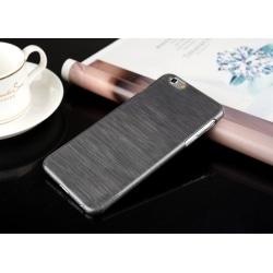 Mobilskal borstad aluminium imitation plast Svart Svart Iphone 6 6S