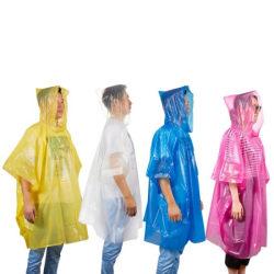 Poncho med huva för plötslig nederbörd regnponcho (Engångs)