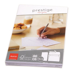 Elco Prestige Brevportfölj 10 st A6-kort, 10 st C6-kuvert Vit