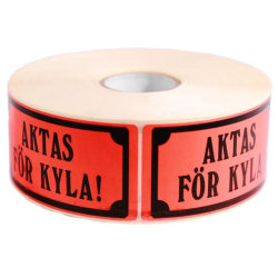 "Emballageetiketter ""Aktas för kyla"" 1000st/rulle Röd"