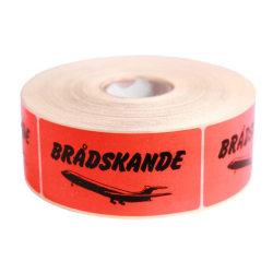 """Emballageetiketter """"Brådskande (flygplan)"""" 1000st/rulle Röd"""
