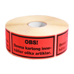 """Emballageetiketter """"Denna kartong innehåller olika artiklar"""" 100 Röd"""