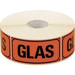 """Emballageetiketter """"GLAS"""" 1000st/rulle Röd"""