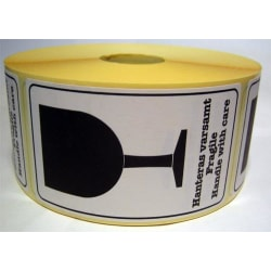 "Emballageetiketter  ""Hanteras varsamt / Fragile / Handle with ca multifärg"