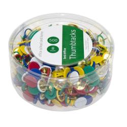Häftstift, 8mm, Ø 10mm, metall/plast, Blandade färger (blå, röd, multifärg