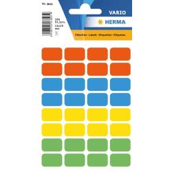 Märketikett Herma 12x19mm permanent, 4 färger x 40 etiketter/fp multifärg