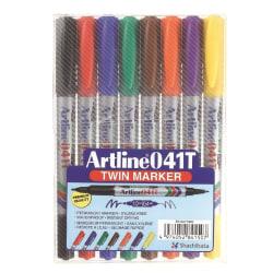 Märkpenna Artline 041T permanent dubbelspets (0,4/1,0mm), 8/fp multifärg