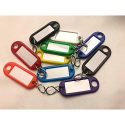 10 st nyckelbrickor. Mått, bricka: 54x21 mm, Mått, etikett:  32x multifärg