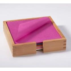 Silkespapper 16x16cm 1200 ark/fp, (20 färger) + Hållare multifärg