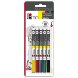 Textilpenna Textil Painter Universal, Basic, 1-2mm, 5 färger/fp multifärg