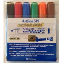 Whiteboardpennor Artline EK-519 Snedskuren spets, 6 färger/fp multifärg