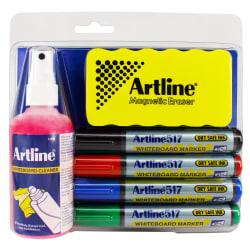 Whiteboardpennor/Rengöringskit Artline EK-517 Rund spets, 4/fp multifärg