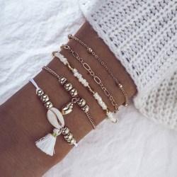 5 Stycken Armband - guld pärlor  Snäcka Tassel