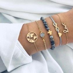 5 Stycken Armband - guld Stenar Världen Hjärta infinity