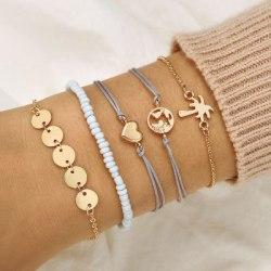 5 Stycken Armband - Guld  Världen Hjärta Palm