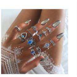 Boho Chic 13 pack Ringar Tibetsilver Kristaller