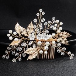 Bröllop Fest -Hårsmycke Guldpläterad med Kristaller och pärlor
