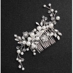Bröllop Fest -Hårsmycke Silverpläterad med Kristaller och pärlor