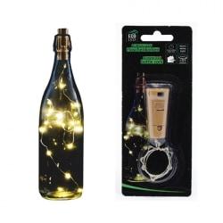 2-pack Ljusslingor för flaskor - 8 LED - Batteridriven Transparent