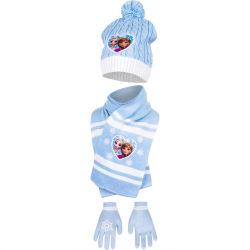 Frozen / Frost - Mössa - Halsduk - Vantar - 5-6år Blue one size