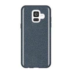 Glitterskal i gummi, Samsung A6-2018, Svart Svart