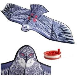 Jättedrake 2 meter vingbredd med 50 meter lina grå