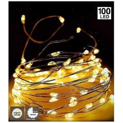 Ljusslinga / Silvertråd 100 LED - 5 meter - Batteridriven Varm vit